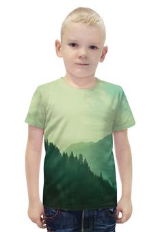 """Футболка с полной запечаткой для мальчиков """"Пейзаж"""" - лес, деревья, природа, горы, туман"""