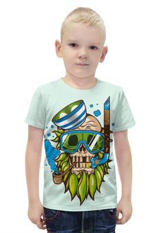 """Футболка с полной запечаткой для мальчиков """"Skull Art"""" - skull, череп, море, sea, капитан"""
