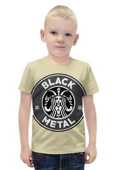 "Футболка с полной запечаткой для мальчиков ""Starbucks / Black Metal"" - black metal, coffee, рок музыка, starbucks, блэк метал"