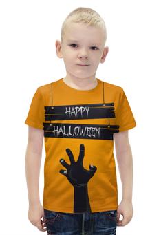 """Футболка с полной запечаткой для мальчиков """"HAPPY HALLOWEEN"""" - хэллоуин, зомби, halloween party"""