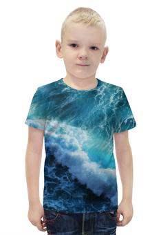 """Футболка с полной запечаткой для мальчиков """"Волны"""" - вода, волны, океан, waves"""