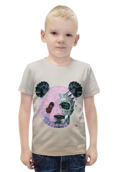 """Футболка с полной запечаткой для мальчиков """"Polygonal panda"""" - череп, панда, треугольник, полигон, makslangedesign"""