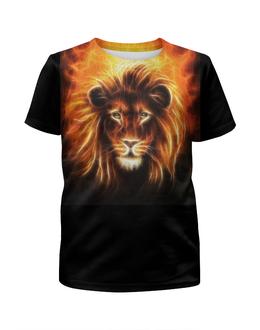 """Футболка с полной запечаткой для мальчиков """"Огненный лев"""" - лев, огонь, животное"""