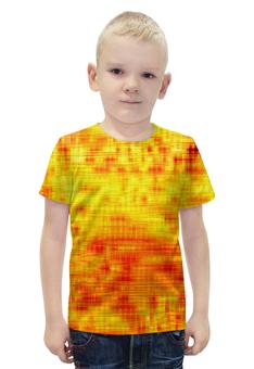 """Футболка с полной запечаткой для мальчиков """"Текстура"""" - полосы, желтый, краски, текстура, линии"""