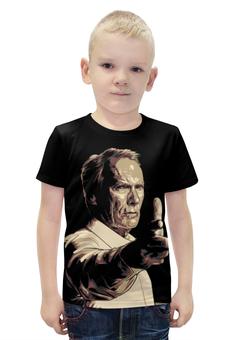 """Футболка с полной запечаткой для мальчиков """"Клинтон (Клинт) Иствуд / Clinton (Clint) Eastwood"""" - рисунок, кино, режисер, клинт иствуд"""