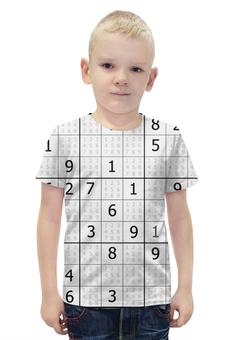 """Футболка с полной запечаткой для мальчиков """"Судоку"""" - головоломка, квадрат, числа, судоку"""