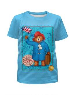 """Футболка с полной запечаткой для мальчиков """"Paddington """" - комедия, британский флаг, приключения паддингтона, медвеженок, киноманам"""