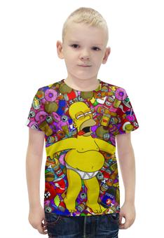 """Футболка с полной запечаткой для мальчиков """"The Simpsons!"""" - гомер, пончики, симпмоны"""