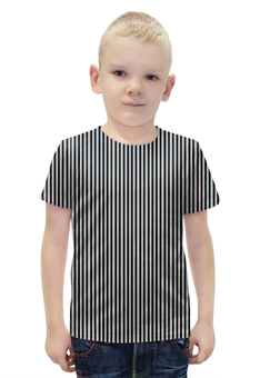 """Футболка с полной запечаткой для мальчиков """"Вертикальная полоска"""" - полоска, белый, чёрный, иллюзия"""