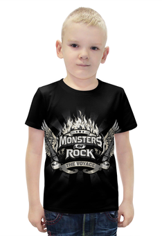 """Футболка с полной запечаткой для мальчиков """"Monsters Of Rock"""" - музыка, рок музыка, rock music, monsters of rock, монстры рока"""