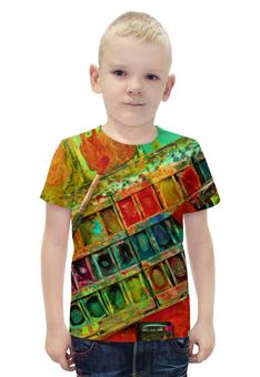 """Футболка с полной запечаткой для мальчиков """"""""Акварельные краски"""""""" - искусство, разноцветный, акварель, художник, пестрый"""