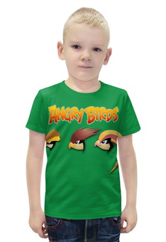 """Футболка с полной запечаткой для мальчиков """"Angry birds """" - птички"""