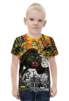 """Футболка с полной запечаткой для мальчиков """"Черный Тигр"""" - кот, черный, город, тигр, black star"""