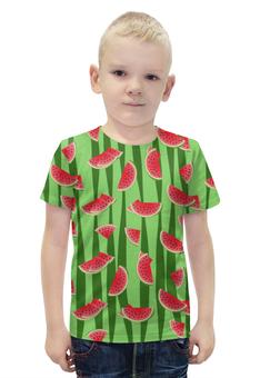 """Футболка с полной запечаткой для мальчиков """"Арбуз"""" - полоска, красный, зеленый, арбуз, семена"""