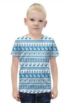 """Футболка с полной запечаткой для мальчиков """"Свитер с оленями """" - узор, орнамент, олени, свитер с оленями"""