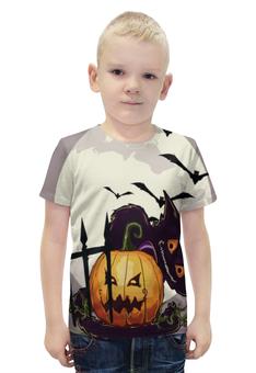 """Футболка с полной запечаткой для мальчиков """"Хеллоуин / Halloween"""" - праздник, рисунок, тыква, хеллоуин"""
