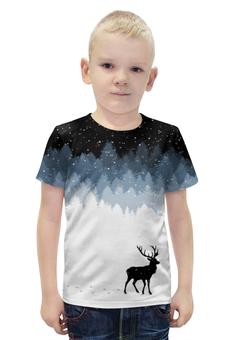 """Футболка с полной запечаткой для мальчиков """"Зимняя ночь"""" - олень, рога, зимняя ночь, олень в лесу"""