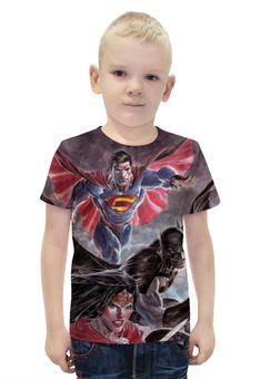 """Футболка с полной запечаткой для мальчиков """"Лига Справедливости / Justice League"""" - комикс, рисунок, кино, бэтмен"""