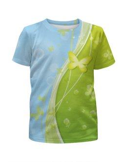 """Футболка с полной запечаткой для мальчиков """"Летний мотив"""" - бабочки, лето, небо, трава, мыльные пузыри"""