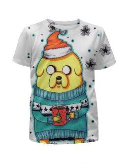 """Футболка с полной запечаткой для мальчиков """"Christmas Time"""" - арт, adventure time, время приключений, джейк, jake the dog"""