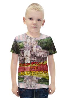 """Футболка с полной запечаткой для мальчиков """"Замки Испании. Замок Бутрон."""" - желтый, испания, замок, полоски, крепость"""