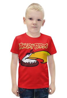 """Футболка с полной запечаткой для мальчиков """"Angry birds """" - птичка"""