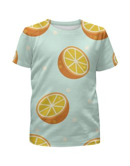 """Футболка с полной запечаткой для мальчиков """"Апельсин"""" - фрукты"""