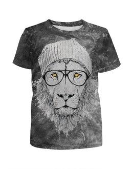 """Футболка с полной запечаткой для мальчиков """"Lion Geek"""" - лев, lion"""
