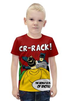"""Футболка с полной запечаткой для мальчиков """"Бэтмен и Робин. Пощёчина"""" - прикольные, batman, мемы, бэтмен, бэтмен и робин"""