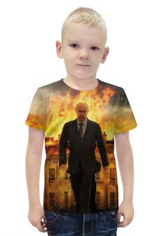 """Футболка с полной запечаткой для мальчиков """"Владимир Путин"""" - россия, russia, путин, putin"""