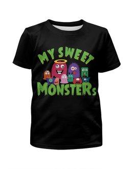 """Футболка с полной запечаткой для мальчиков """"Пушистые монстры"""" - хэллоуин, монстр, дракон, комиксы, зубы"""