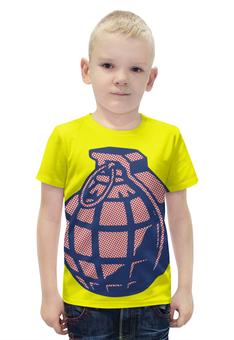 """Футболка с полной запечаткой для мальчиков """"Граната"""" - арт, поп арт, grenade, pop art"""