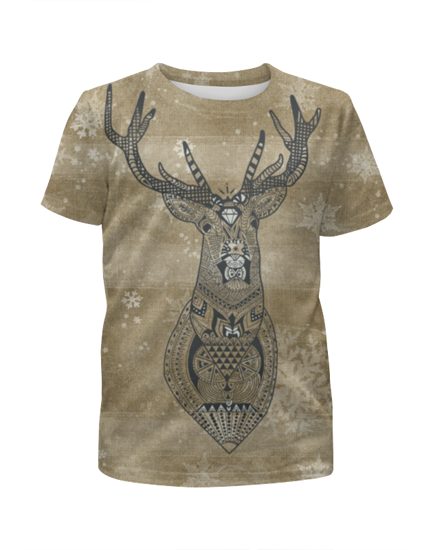 Футболка с полной запечаткой для девочек Printio Орнамент - олень футболка с полной запечаткой printio северный олень