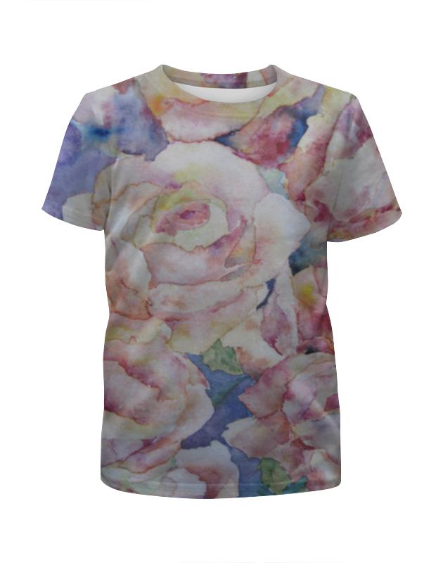 футболка с полной запечаткой для девочек printio розы декор Футболка с полной запечаткой для девочек Printio Розы. нежность