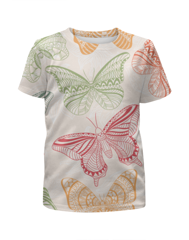 футболка с полной запечаткой для девочек printio цветные бабочки Printio Бабочки