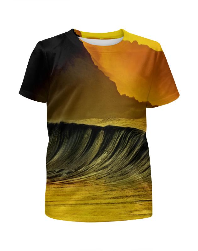 Футболка с полной запечаткой для девочек Printio Волны моря футболка с полной запечаткой для девочек printio пртигр arsb
