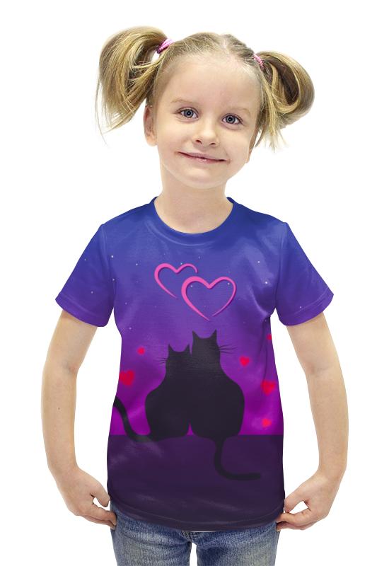 Футболка с полной запечаткой для девочек Printio Cat's desire. парные футболки.