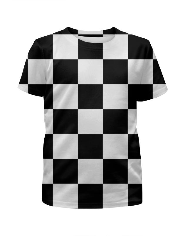 Футболка с полной запечаткой для девочек Printio Чёрно-белая клетка юбка карандаш укороченная printio чёрно белая клетка