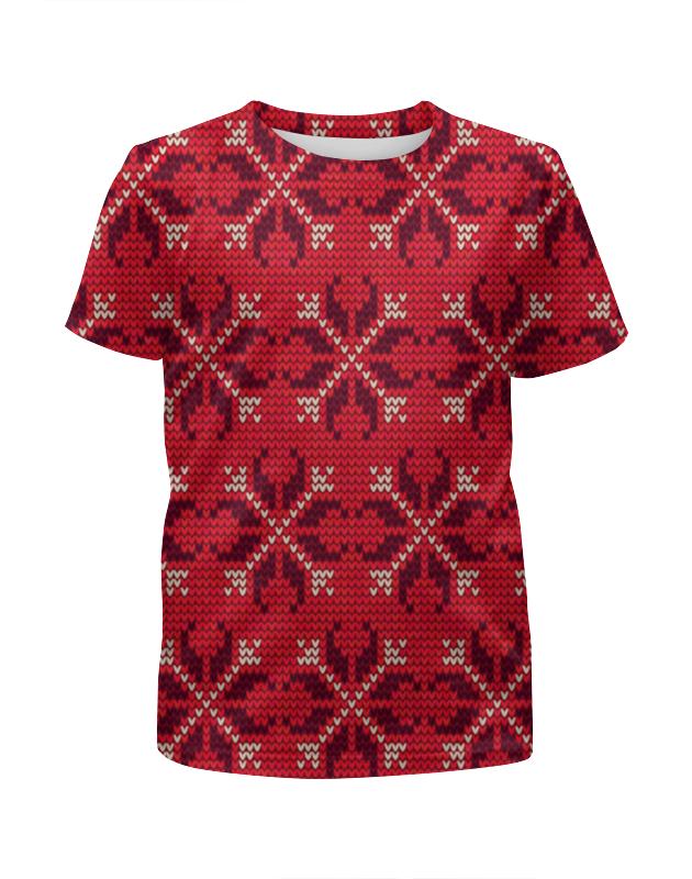 Футболка с полной запечаткой для девочек Printio Узор новогодний футболка для беременных printio новогодний лось