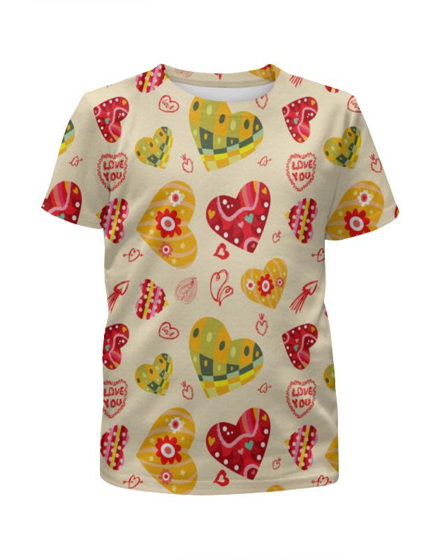 Футболка с полной запечаткой для девочек Printio Сердечки цветные футболка с полной запечаткой для девочек printio пртигр arsb