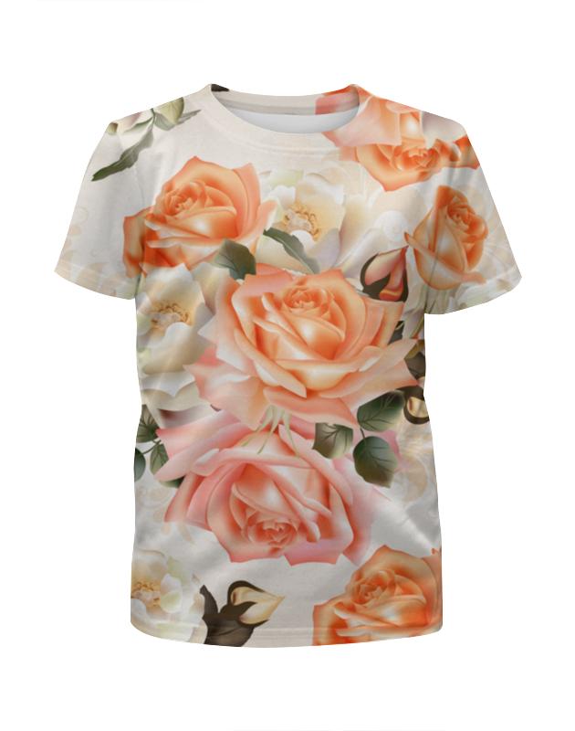 Футболка с полной запечаткой для девочек Printio Чайная роза 12storeez платье футболка с разрезами чайная роза