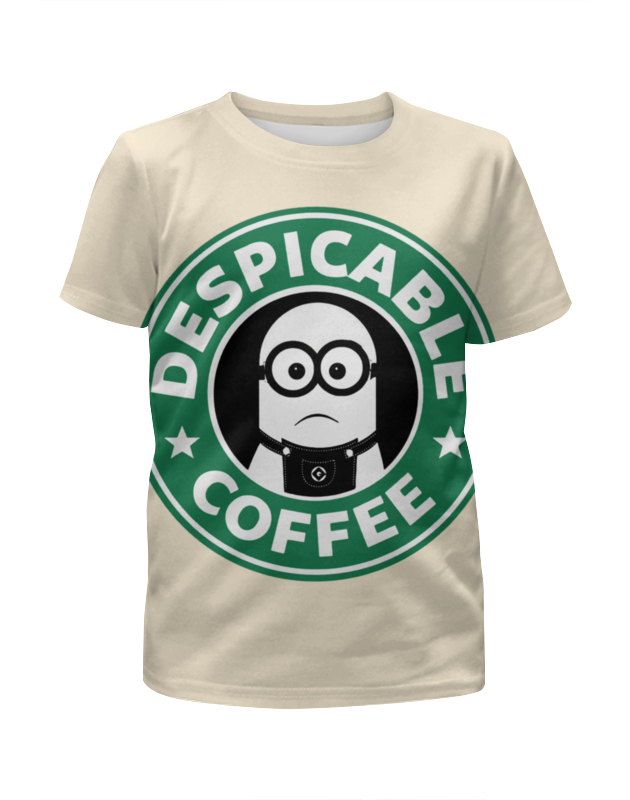 Футболка с полной запечаткой для девочек Printio Starbucks / despicable coffee сумка printio starbucks coffee