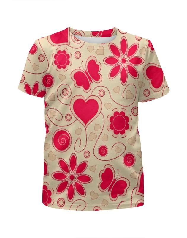 Футболка с полной запечаткой для девочек Printio Бабочки и цветы платье летнее printio бабочки и цветы