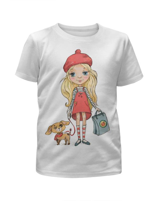 Футболка с полной запечаткой для девочек Printio Девочка с собачкой статуэтка клоун с собачкой 935660