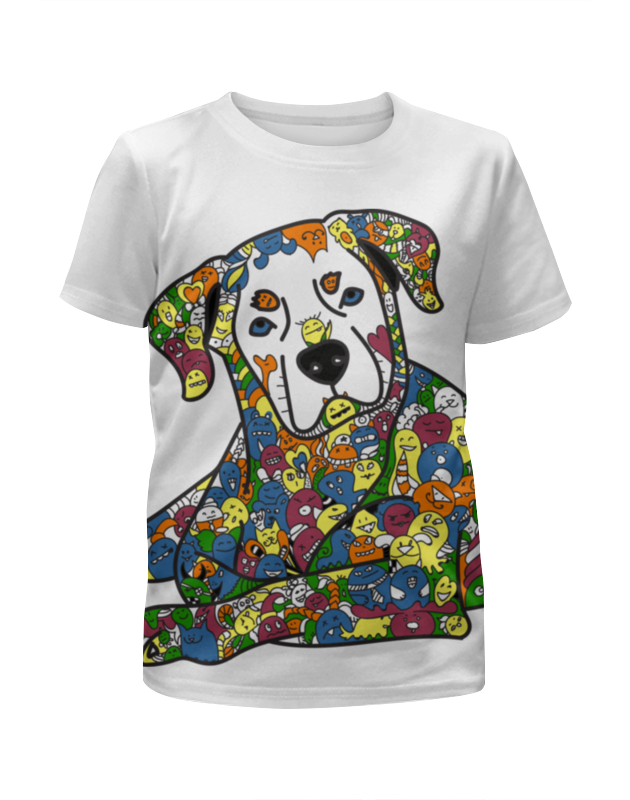 Футболка с полной запечаткой для девочек Printio Собака из дудл монстров рубашка поло с полной запечаткой printio собака из дудл монстров