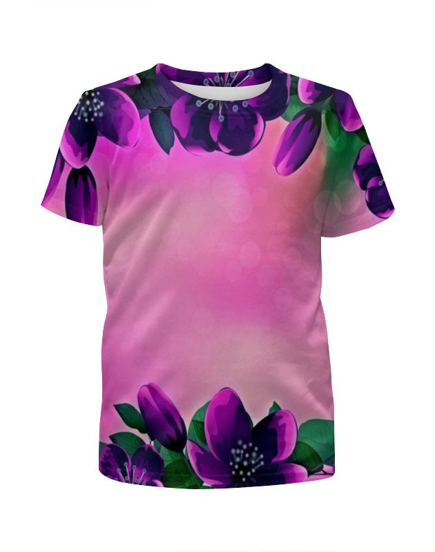 Футболка с полной запечаткой для девочек Printio Фиолетовые цветы