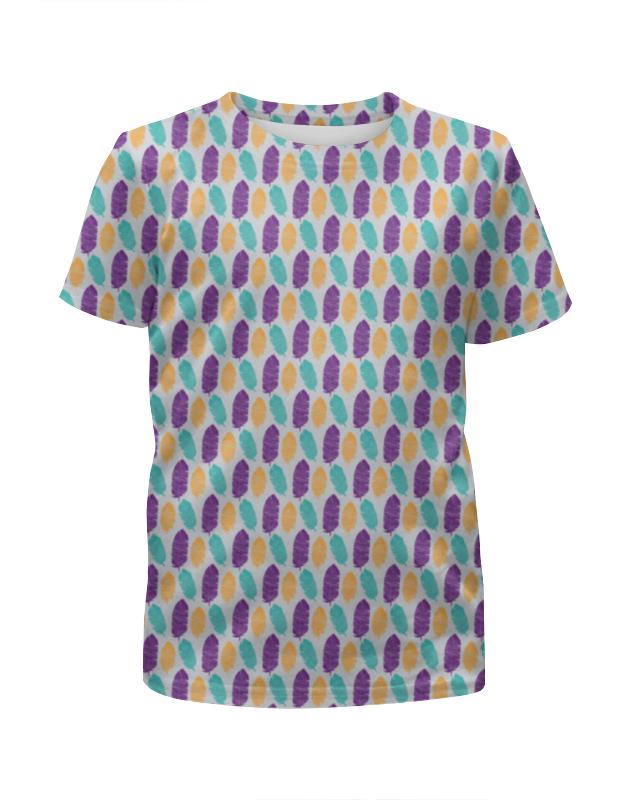 все цены на Футболка с полной запечаткой для девочек Printio Разноцветные перья онлайн