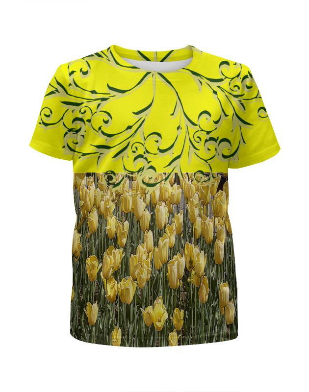 Футболка с полной запечаткой для девочек Printio Солнечный тюльпан. цена и фото