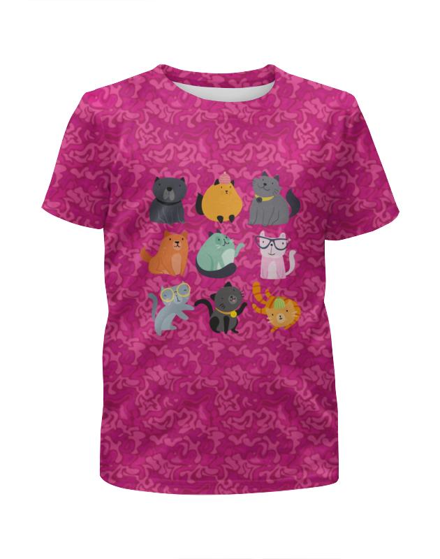 Футболка с полной запечаткой для девочек Printio Цветные кошки цена