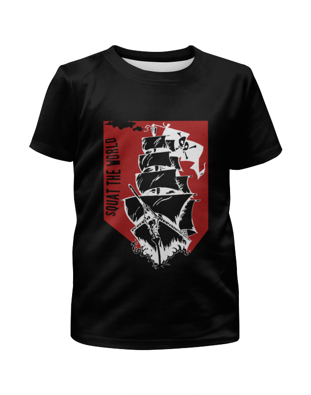 Футболка с полной запечаткой для девочек Printio Пиратский корабль александра треффер под пиратским флагом фантазии натему произведений р сабатини